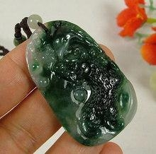 China Moss In Snow Dark Green Jadeite Jade Pendant Necklace Tiger Eagle Bat on sale