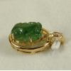 China Dark Green Jade PiXiu Pendant 18k Yellow Gold Natural Jadeite Diamonds for sale