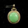 China Apple Green Jadeite Jade Gold Pendant Oval18k Yellow Gold Diamonds for sale
