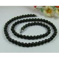 China Black Grey Natural Jadeite Jade Necklace 7mm Beads 20 on sale