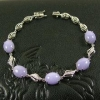 China Purple Lavender Jade Bracelet 18k White Gold Diamonds Jadeite Jewelry for sale