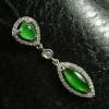 China Emerald Green Old Jade Pendant 18k White Gold Diamonds Jadeite Jewelry for sale