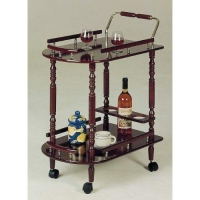 China Tea Carts Cherry Finish Tea Serving Cart With Brass Accents on sale