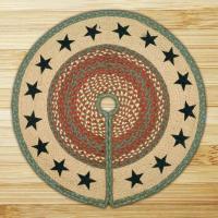 Printed Tree Skirt Green Stars Jute Braided Earth Rug