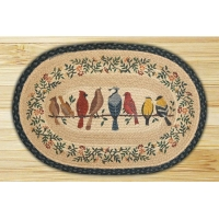 China Oval Hand Printed Birds On A Wire Braided Earth Rug on sale