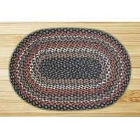 Oval Black Sage and Ginger Jute Braided Earth Rug