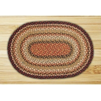 Oval Burgundy Mustard and Ivory Jute Braided Earth Rug