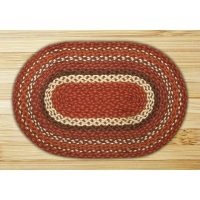 Oval Copper Burgundy and Brown Jute Braided Earth Rug