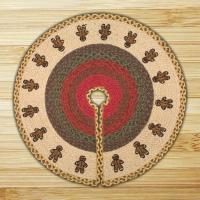 Printed Tree Skirt Gingerbread Men Jute Braided Earth Rug