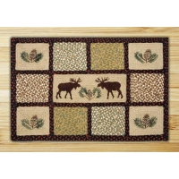 Rectangle Quilt Patch Moose and Pinecone Jute Braided Earth Rug