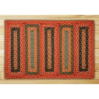Rectangle Soft Patch Burgundy Copper and Sage Jute Braided Earth Rug