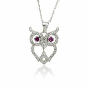 China Sterling Silver CZ Micro Pave Set Big Eyes Owl Pendant Necklace 18 on sale