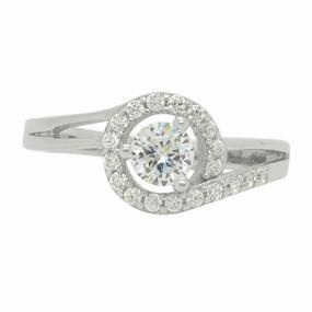 China Sterling Silver Cz Classic Round White Colorless Prong Set Engagement Ring on sale