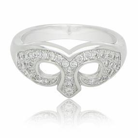 China Sterling Silver Cz Micro Pave Masquerade Mask Ring on sale