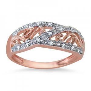 China Rose Gold Plated Diamond Antique Ring in .925 Sterling Silver on sale