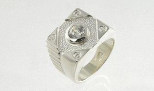 China Men's Sterling Silver Ring with Diamond CZ Stone (.925) on sale
