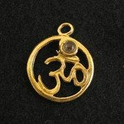 China Brass Brass Om Charm with Stone on sale