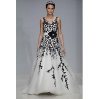Jewel neckline black lace and white tulle mermaid court train wedding dresses BW-001