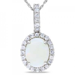 China Oval Opal and Lab-Created White Sapphire Frame Pendant in 10K White Gold - 17 on sale