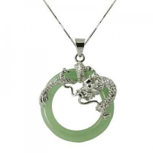 China Circle Jade Dragon Pendant in Sterling Silver on sale