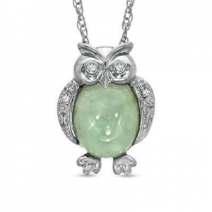 China Green Jade and Diamond Accent Owl Pendant in Sterling Silver on sale