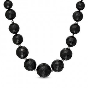China Graduated Faceted Onyx and Sterling Silver Bead Necklace on sale
