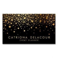 China Wedding Business Cards Faux Gold Foil Confetti Business Card | Black on sale