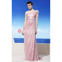 Weddings & Events Pink Sweep Train Sequins Shoulder Beads Evening Dress