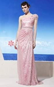 China Weddings & Events Pink Sweep Train Sequins Shoulder Beads Evening Dress on sale