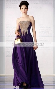China Purple Sheath/Column Strapless Floor-length Elastic-satin Beading Evening Dress on sale