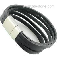 China Bracelet. 14mm flat leather w/steel clasp on sale