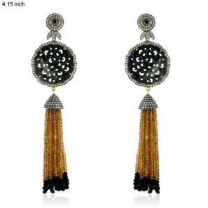China Citrine Gemstone Designer Diamond Tassel Earrings on sale
