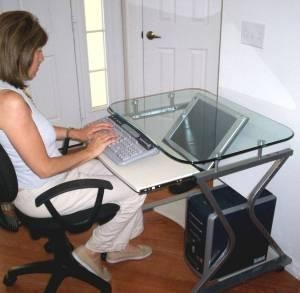 China TS-278T 32 Downview LCD or CRT Monitor Glass-Top Computer Desk on sale