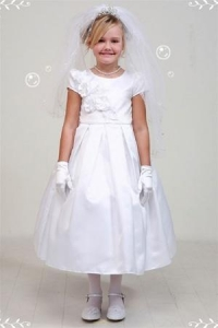 China Flower Girl Dress #CD2004WHElegant pleated satin dress with 3 beaded flowers patch on sale