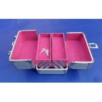 China Silver ABS Aluminum Cosmetic Cases , Professional Makeup Case With Lock on sale