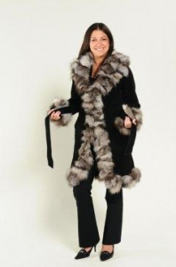 China Jackets Sophisticated Black Suede Leather and Silver Fox Fur Coat on sale