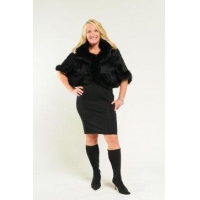 China Capes & Sweaters Elegant Black Mink Fur and Fox Fur Sweater/Wrap on sale