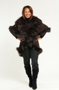 China Jackets Beautiful Brown Cashmere/Wool Cape with Fox Fur on sale