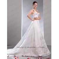 2013 A-line / Princess Halter Clingy Embroidery Satin Wedding Dress - ULovedress.co.uk