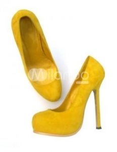 China Yellow 5 1/2'' Heel Sheepskin Suede Womens Fashion Shoes on sale
