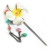 China H-P2 Leather-Made Flora Hair Pin for sale