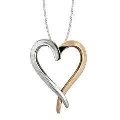 China Sterling Silver & 14K Yellow Gold Touch My Heart Large Pendant on sale