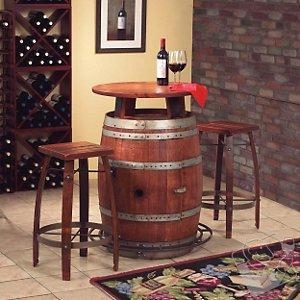 China Bars & Consoles Vintage Oak Wine Barrel Bistro Table & Bar Stools on sale