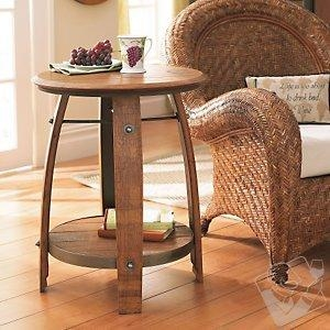China Bar Furniture Wine Barrel End Table on sale
