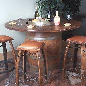 China Bar Furniture Vintage Oak Full Wine Barrel Bistro Table on sale