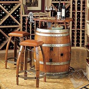 China Bar Furniture Vintage Oak Wine Barrel Bistro Table & Bar Stools with Leather Seats on sale
