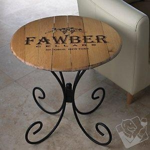 China Bar Furniture Authentic Barrel Head End Table With Personalized Wine Theme on sale