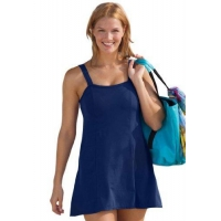 Woman Within Plus Size Slimming Swimdress By Swim365 (Indigo,24 W)