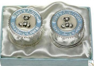 China Baby Boy Tooth & Curl Silver Keepsake Box on sale