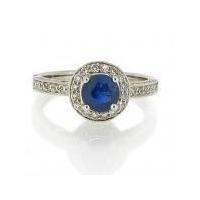 Coloured gemstones Sapphire & Diamond cluster ring. 18ct white gold